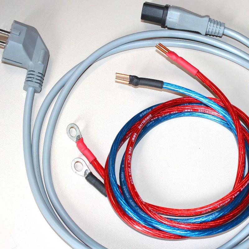 Lieferumfang: 1 x 230V-Netzkabel und 2 Stück 6mm²-Ladekabel mit Ringkabelschuhen, 1m lang