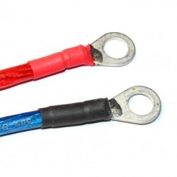 Kräftige Ringkabelschuhe mit M8-Montagelöschern an 6mm²-Batteriekabeln