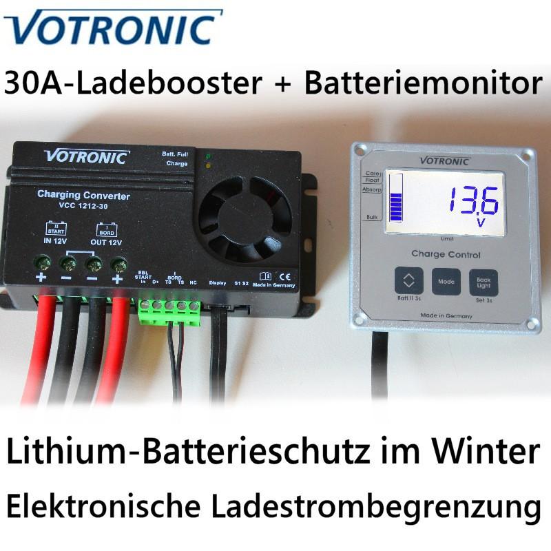 Votronic Ladewandler-Set 30A: VCC1212-30 mit Display- und Bedieneinheit 'Charge-Control'