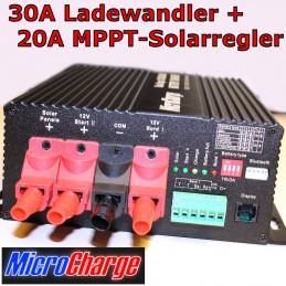 MicroCharge-Ladewandler/Solarladeregler-Kombination 30A Gerätefront