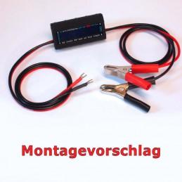 Montagevorschlag für MicroCharge-Lademonitor mit Anschlusskabeln und Batterieklemmen