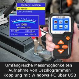 Umfangreiche Messmöglichkeiten, z.B. Aufnahme von Oszillogrammen. Dazu Anschlussfähigkeit an Windows-PC über USB-Schnittstelle.