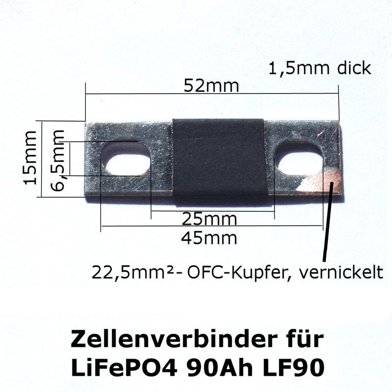 Abmessungen des Zellenverbinders für 90Ah LiFePO4-Zellen (LF90)