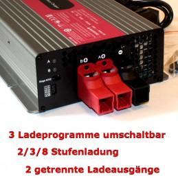 Drei Ladeprogramme umschaltbar (2/3/8-Stufenladung), zwei getrennte Ladeausgänge.