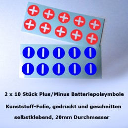 Aufkleberbögen Batteriepolsymbole Plus/Minus 2 x 10 Stück