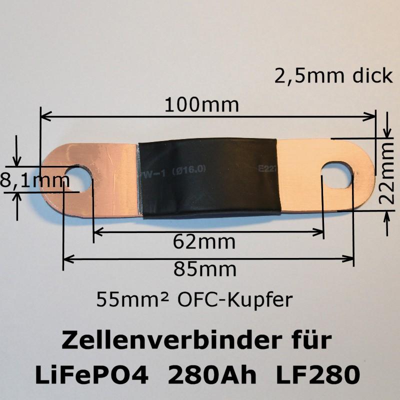 Abmessungen des Zellenverbinders für 280Ah LiFePO4-Zellen (LF280)