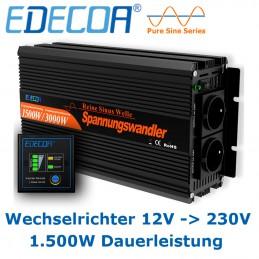 Qualitäts-Wechselrichter von EDECOA, Ausführung 12V  mit 1.500W Dauerleistung