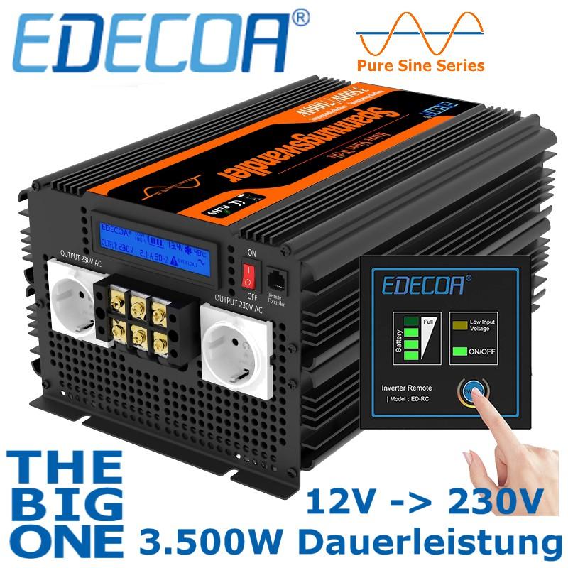 Qualitäts-Wechselrichter von EDECOA, Ausführung 12V mit 3.500W Dauerleistung