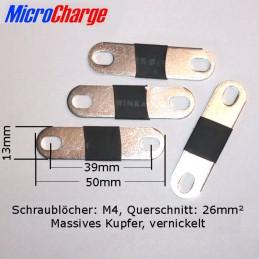 Zellenverbinders für 90Ah LiFePO4-Zellen (LF90) mit M4-Schraubgewinde. Schraubenabstand 35 bis 41mm.