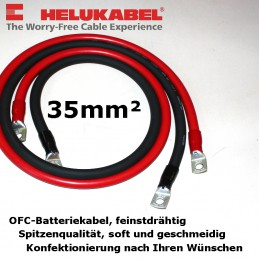 Batteriekabel supersoft, beidseitig Ringkabelschuhe mit Isolierung, direkt anschlussfertig für Sie angefertigt.