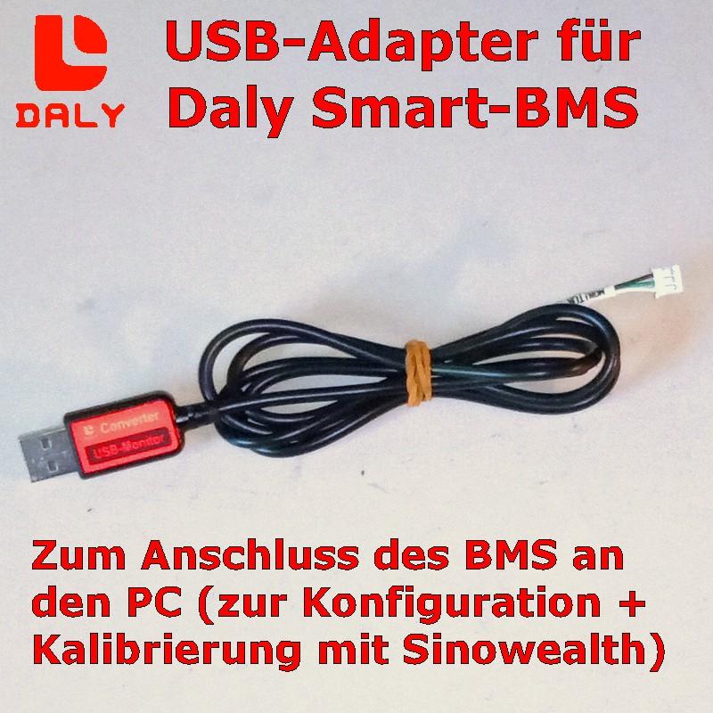 Daly USB-Adapter zur Konfiguration und Kalibrierung des BMS über die Windows-Software Sinowealth