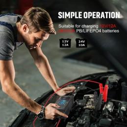 HTRC Kompaktlader 12V/24V, max. 12A, für harten Werkstatteinsatz, oder auch als Garagenlader geeignet.