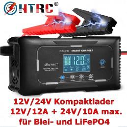 HTRC Kompaktlader 12V/24V, max. 12A, 7 Ladestufen, für Blei- und LiFePO4-Batterien