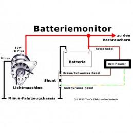Anschluss des MicroCharge-Batteriemonitors zwischen Lichtmaschine und Batterie