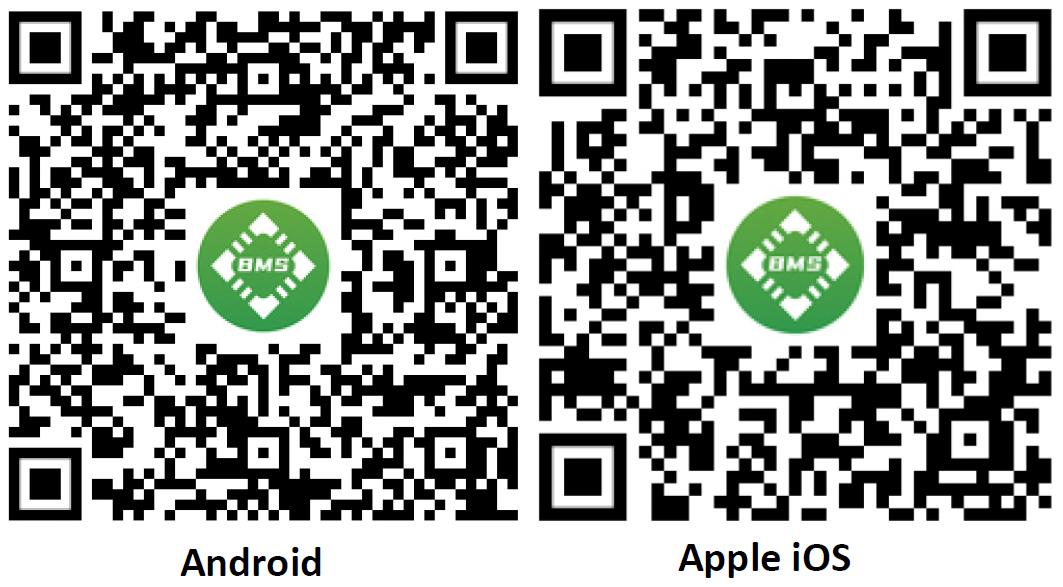 Daly Smart-BMS Smartfon-Apps QR-Codes